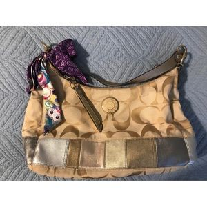 Tan and metallic coach shoulder bag